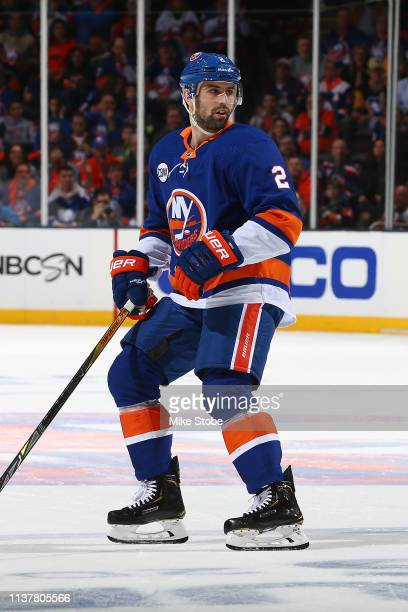 Nick Leddy of the New York Islanders skates against the Pittsburgh Penguins in Game Two of the Eastern Conference First Round during the 2019 NHL...