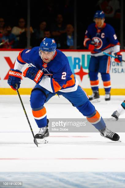 Nick Leddy of the New York Islanders skates against the San Jose Sharks at Barclays Center on October 8 2018 the Brooklyn borough of New York City...
