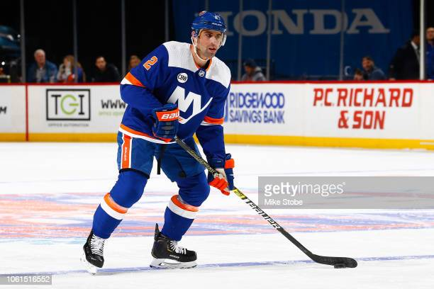 Nick Leddy of the New York Islanders skates against the Vancouver Canucks at Barclays Center on November 13 2018 the Brooklyn borough of New York...