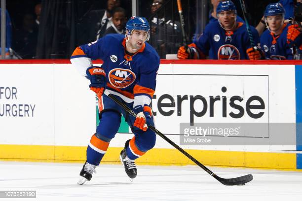 Nick Leddy of the New York Islanders skates against the Vegas Golden Knights at Barclays Center on December 12 2018 the Brooklyn borough of New York...