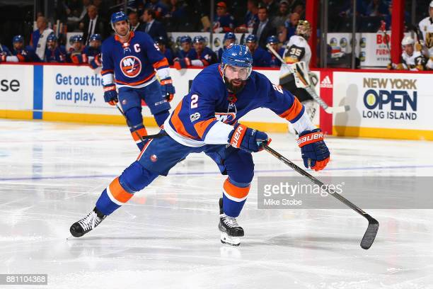 Nick Leddy of the New York Islanders skates against the Vegas Golden Knights at Barclays Center on October 30 2017 in New York City New York...