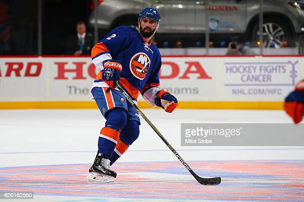 Nick Leddy of the New York Islanders skates agiainst the Toronto Maple Leafs at the Barclays Center on October 30 2016 in Brooklyn borough of New...