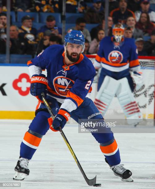 Nick Leddy of the New York Islanders skates during an NHL game against the Buffalo Sabres on February 8 2018 at KeyBank Center in Buffalo New York