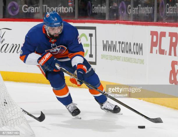 Nick Leddy of the New York Islanders skates in an NHL hockey game against the Edmonton Oilers at Barclays Center on November 7 2017 in the Brooklyn...