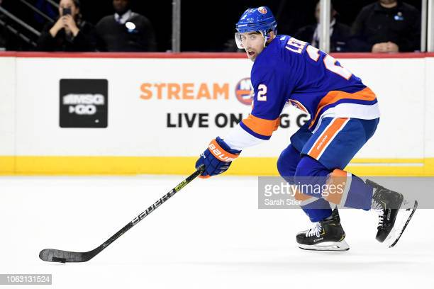 Nick Leddy of the New York Islanders skates with the puck during the game against New Jersey Devils at Barclays Center on November 3 2018 in the...