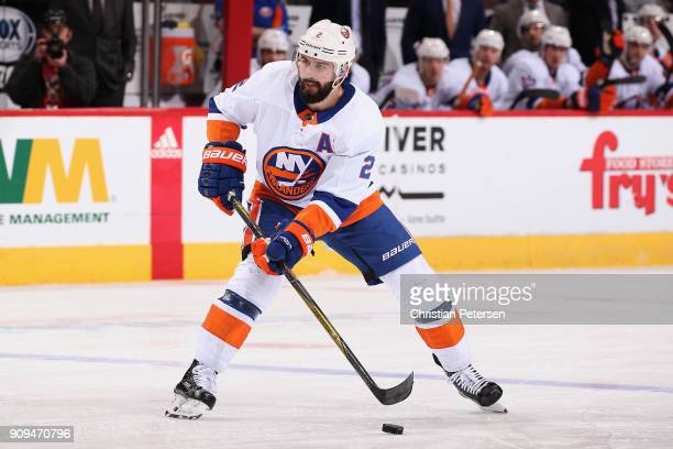 Nick Leddy of the New York Islanders skates with the puck during the NHL game against the Arizona Coyotes at Gila River Arena on January 22 2018 in...