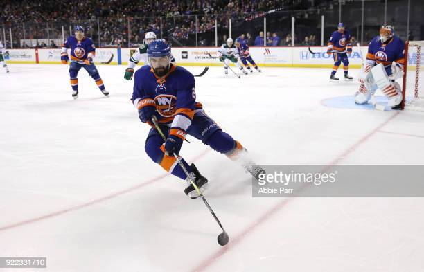 Nick Leddy of the New York Islanders skates with the puck in the first period against the Minnesota Wild during their game at Barclays Center on...