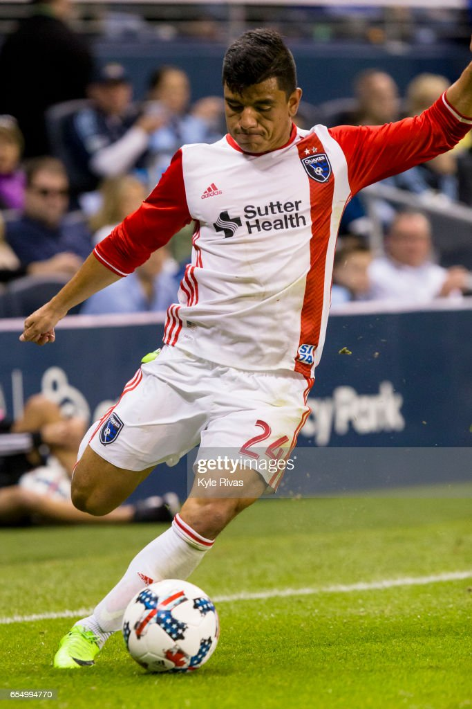 Nick Lima #24 of San Jose Earthquakes redirects the ball towards the Sporting Kansas City goal in the second half at Children's Mercy Park on March 18, 2017 in Kansas City, Kansas.