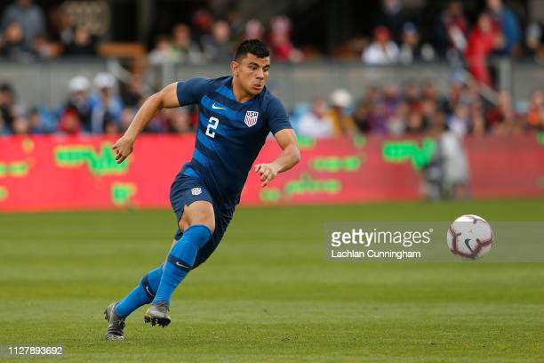Nick Lima of the United States looks to control the ball during their international friendly match against Costa Rica at Avaya Stadium on February 2...