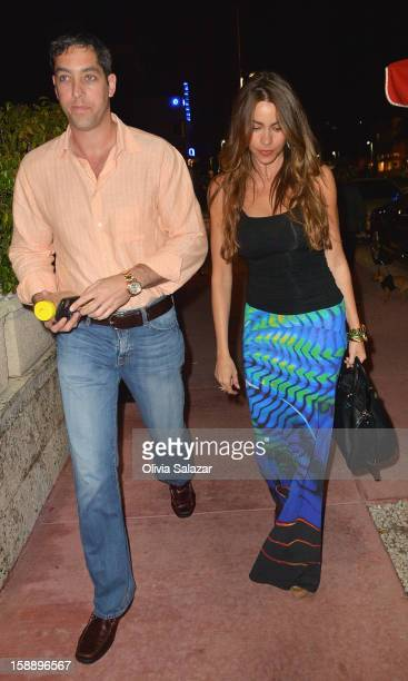 Nick Loeb and Sofia Vergara are seen at Prime 112 Steakhouse on January 2 2013 in Miami Beach Florida