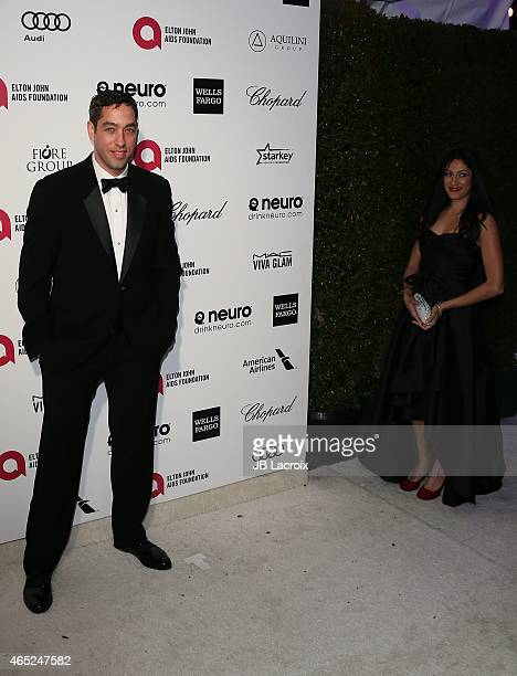 Nick Loeb and Tehmina Sunny attend the 23rd Annual Elton John AIDS Foundation Academy Awards Viewing Party on February 22 2015 in West Hollywood...