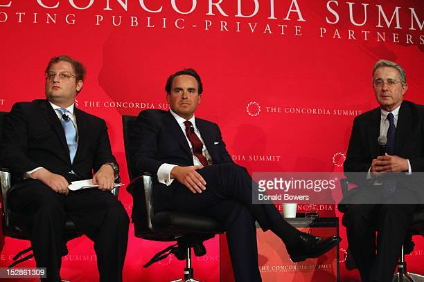 Nick Logothetis Matthew Swift and Alvaro Uribe speak during The 2nd Annual Concordia Summit at The Plaza Hotel on September 27 2012 in New York City