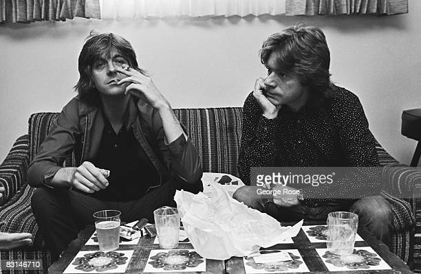Nick Lowe and Dave Edmunds members of the rock group 'Rockpile' pose during a 1979 West Hollywood California interview at the famed Tropicana Motel...