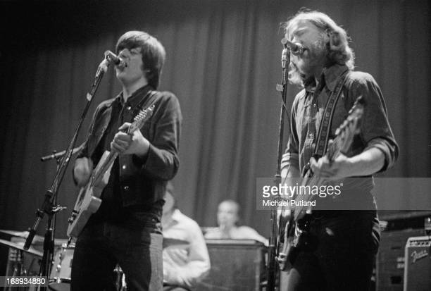 Nick Lowe and Ian Gomm performing with English rock group Brinsley Schwarz, 4th May 1973.