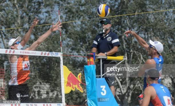 Nick Lucena of USA competes during match im the men's round of 16 between Predo Solberg Salgado of Brazil and Bruno Oscar Schmidt of Brazil and...