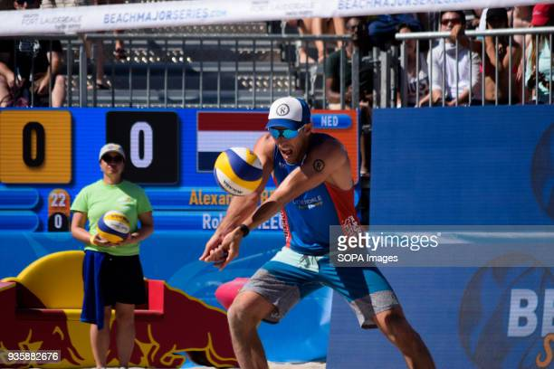 Nick Lucena of USA seen in the quarterfinals facing the Netherlands. The Volleyball Major Series 2018 Florida was hosted in Fort Lauderdale, USA from...