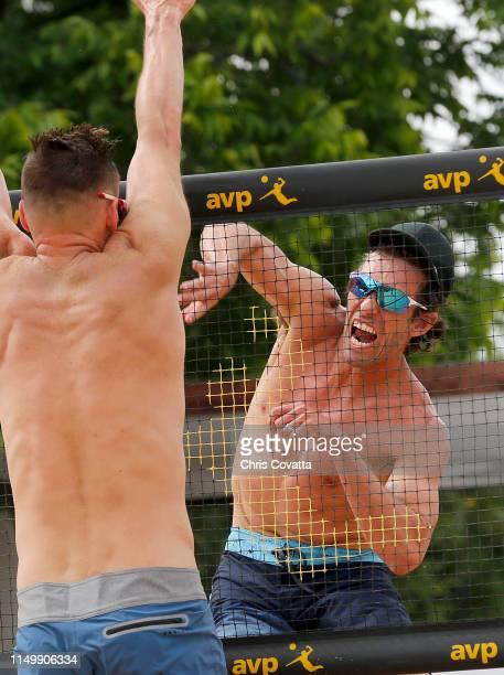 Nick Lucena slams the ball past Joe Hillman during the AVP Austin Open at Krieg Fields on May 17 2019 in Austin Texas