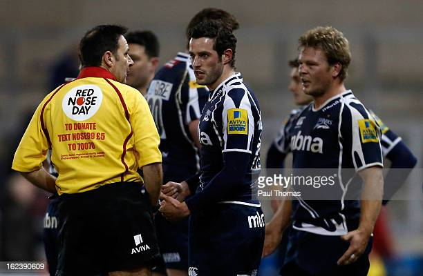 Nick MacLeod and Daniel Braid of Sale have words with referee Martin Fox at full time of the Aviva Premiership match between Sale Sharks and...