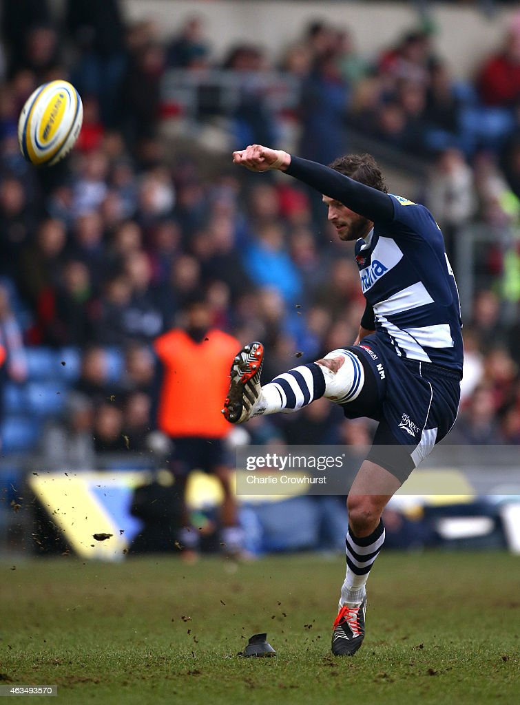 Nick Macleod of Sale kicks a conversion during the Aviva Premiership match between London Welsh and Sale Sharks at The Kassam Stadium on February 15, 2015 in Oxford, England.