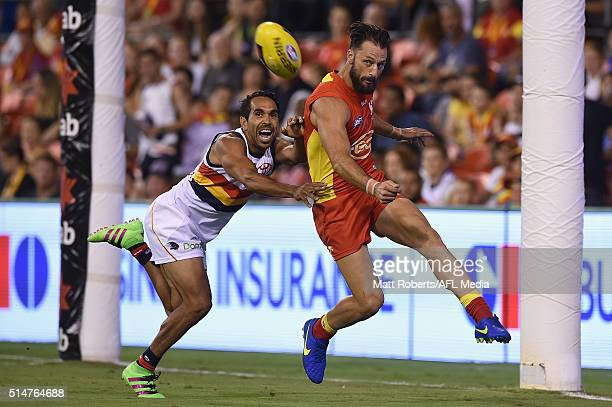 Nick Malceski of the Suns kicks the ball during the NAB Challenge AFL match between the Gold Coast Suns and the Adelaide Crows at Metricon Stadium on...