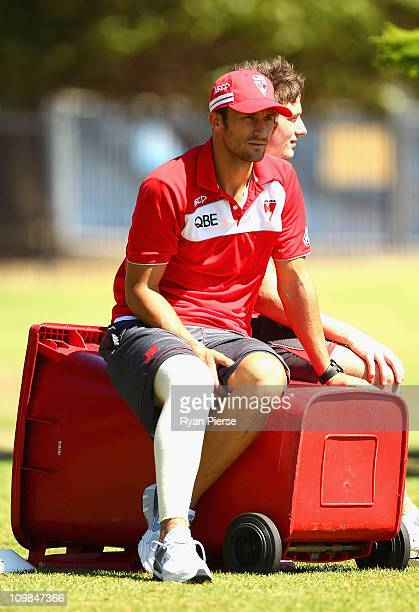 Nick Malceski of the Swans looks on from the sidelines during a Sydney Swans AFL training session at Lakeside Oval on March 8, 2011 in Sydney,...