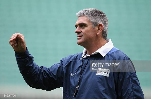 Nick Mallett coach of the Southern Hemisphere XV issues instructions during the captain's run at Twickenham Stadium on December 2 2011 in London...