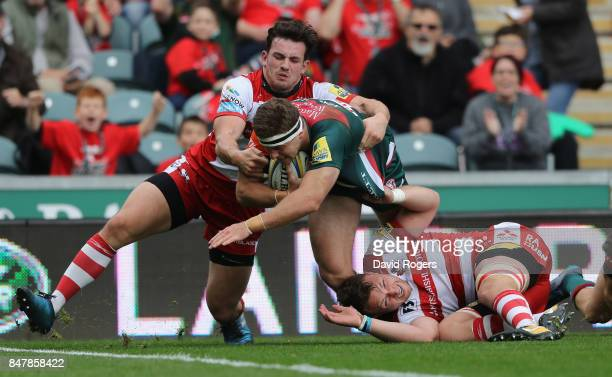 Nick Malouf of Leicester dives over for their third try during the Aviva Premiership match between Leicester Tigers and Gloucester Rugby at Welford...