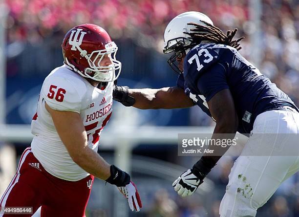 Nick Mangieri of the Indiana Hoosiers in action during the game against Paris Palmer of the Penn State Nittany Lions on October 10, 2015 at Beaver...