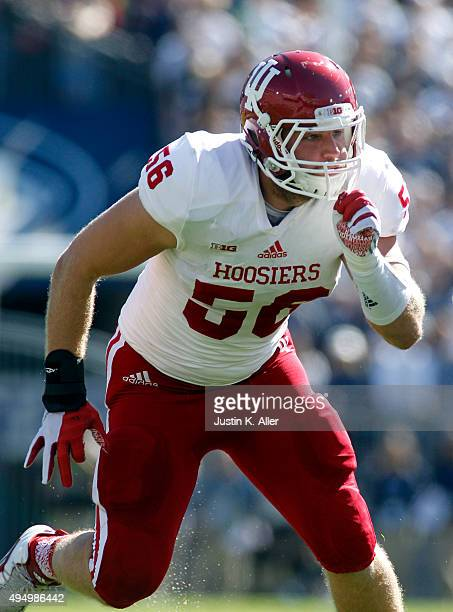 Nick Mangieri of the Indiana Hoosiers in action during the game against the Penn State Nittany Lions on October 10, 2015 at Beaver Stadium in State...