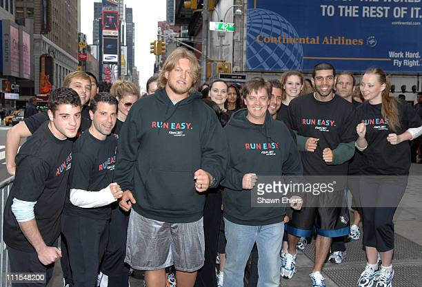 Nick Mangold and Jim Breuer during Jim Breuer and New York Jets star Nick Mangold Bring Reebok's Run Easy Movement to Life in New York City at Hilton...