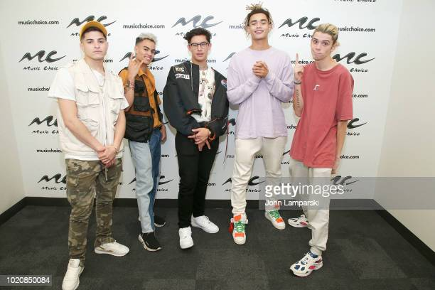 Nick Mara Edwin Honoret Brandon Arreaga Zion Kuwonu and Austin Porter of PRETTYMUCH visit Music Choice at Music Choice on August 21 2018 in New York...