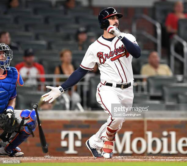 Nick Markakis of the Atlanta Braves hits a third inning double against the New York Mets at SunTrust Field on May 28 2018 in Atlanta Georgia