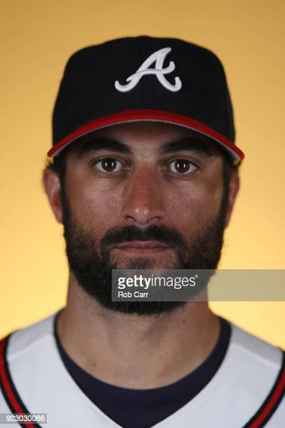Nick Markakis of the Atlanta Braves poses for a photo during photo days at Champion Stadium on February 22 2018 in Lake Buena Vista Florida