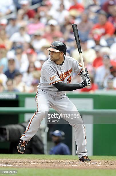 Nick Markakis of the Baltimore Orioles bats against the Washington Nationals May 24, 2009 at Nationals Park in Washington, DC.