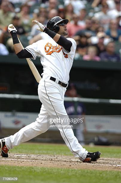 Nick Markakis of the Baltimore Orioles bats during the game against the Minnesota Twins at Camden Yards in Baltimore Maryland on August 26 2007 The...