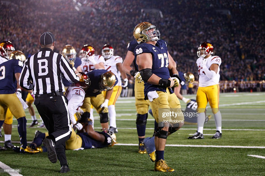 Nick Martin #72 of the Notre Dame Fighting Irish celebrates after a six-yard touchdown run by C.J. Prosise against the USC Trojans in the fourth quarter of the game at Notre Dame Stadium on October 17, 2015 in South Bend, Indiana.