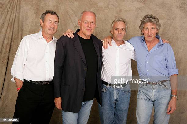 Nick Mason Dave Gilmour Rick Wright and Roger Waters of Pink Floyd pose for a studio portrait backstage at Live 8 London in Hyde Park on July 2 2005...