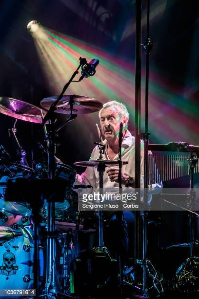Nick Mason of Pink Floyd performs on stage with superband Saucerful Of Secrets at Teatro degli Arcimboldi on September 20 2018 in Milan Italy