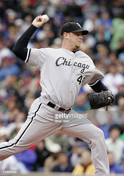 Nick Masset of the Chicago White Sox pitches against the Chicago Cubs during interleague play on May 20 2007 at Wrigley Field in Chicago Illinois The...