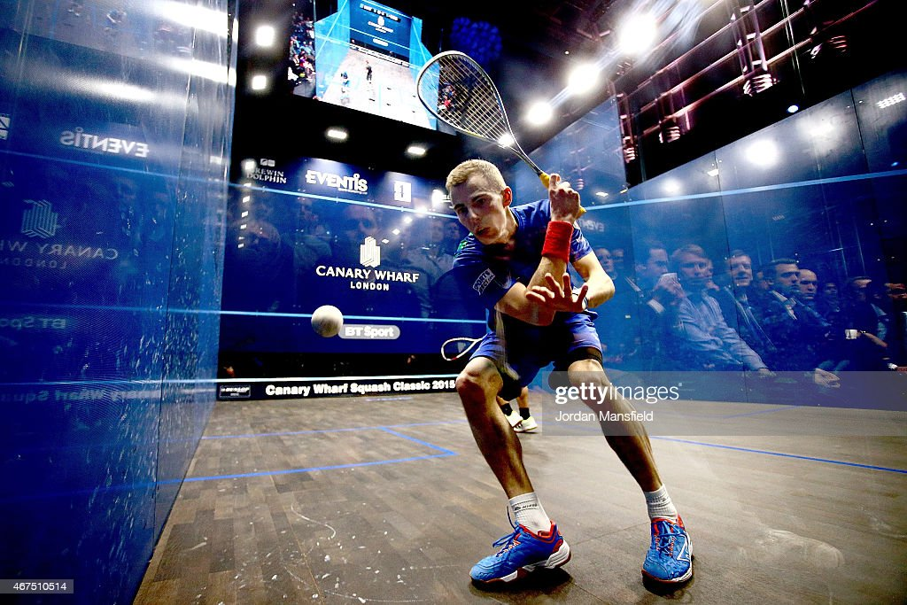 Nick Matthew of England plays a shot during his quarter-final match against Fares Dessouki of Egypt on Day 3 of the Canary Wharf Squash Classic at the East Wintergarden on March 25, 2015 in London, England.