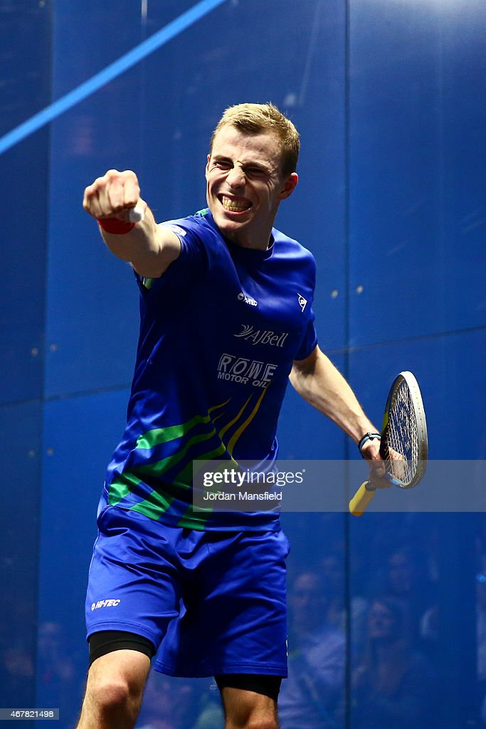 Nick Matthew of Great Britain celebrates after beating Simon Rosner of Germany in the final on Day 5 of the Canary Wharf Squash Classic at the East Wintergarden on March 27, 2015 in London, England.