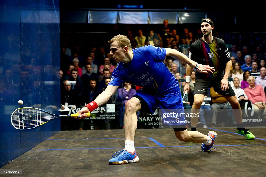 Nick Matthew of Great Britain plays a shot during the final against Simon Rosner of Germany on Day 5 of the Canary Wharf Squash Classic at the East Wintergarden on March 27, 2015 in London, England.