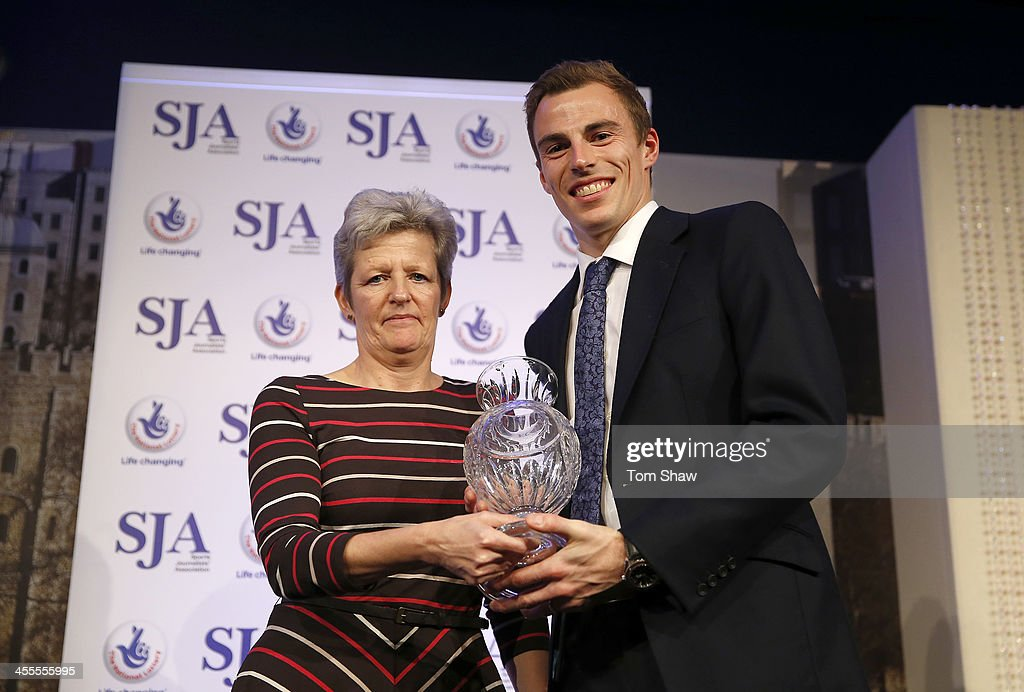 Nick Matthew of Great Britain receives his award during the SJA British Sports Awards at Tower of London on December 12, 2013 in London, England.