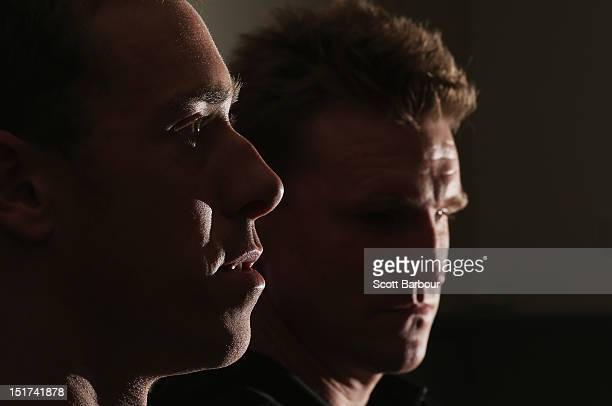 Nick Maxwell captain of the Magpies and Nathan Buckley coach of the Magpies speak to the media during a Collingwood Magpies AFL media session at the...