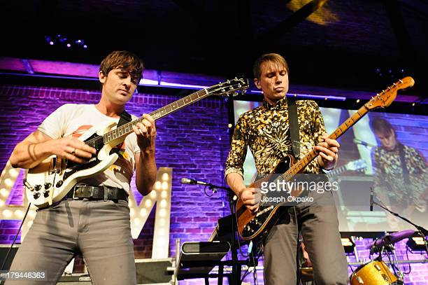 Nick McCarthy and Alex Kapranos of Franz Ferdinand performs at the AIM Independent Music Awards at The Brewery on September 3 2013 in London England