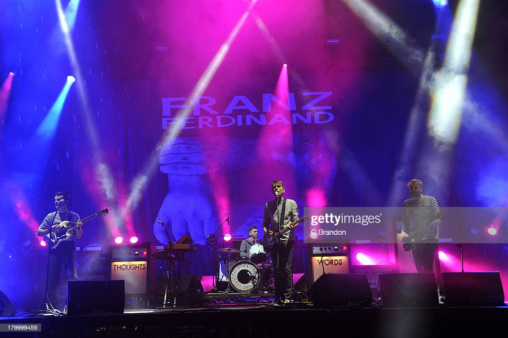 Nick McCarthy, Paul Thomson, Alex Kapranos and Robert Hardy of Franz Ferdinand perform on stage during Day 3 of Bestival 2013 at Robin Hill Country Park on September 7, 2013 in Newport, Isle of Wight.