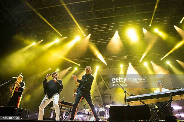 Nick McCarthy Russel Mael Alex Kapranos and Ron Mael of Franz Ferdinand Sparks perform on stage during the second day of Cruilla Festival at Parc Del...