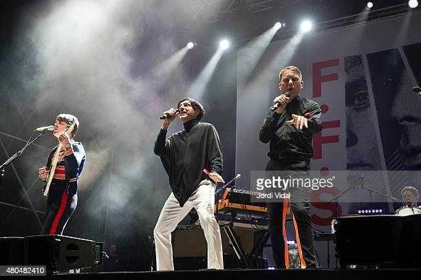 Nick McCarthy Russel Mael and Alex Kapranos of Franz Ferdinand Sparks perform on stage during the second day of Cruilla Festival at Parc Del Forum on...