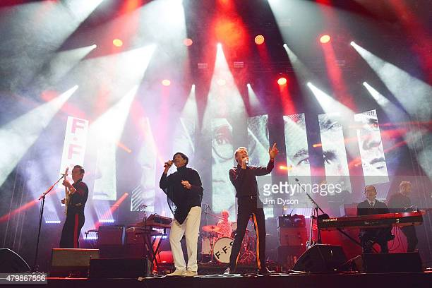 Nick McCarthy Russell Mael and Alex Kapranos and Ronald Mael of FFS perform live on the John Peel stage during the third day of Glastonbury Festival...