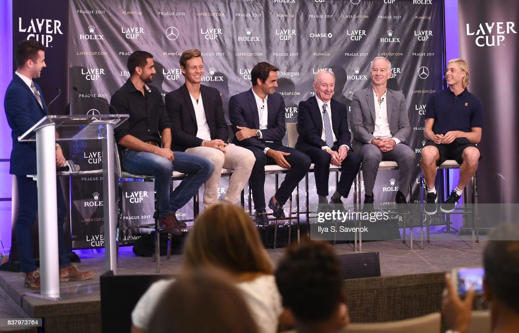 Nick McCarvel, Marin Cilic, Tomas Berdych, Roger Federer, Rod Laver, John McEnroe and Denis Shapovalov attend Laver Cup Team Announcement on August 23, 2017 in New York City.